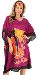 Sakkas Trina Women's Casual Loose Beach Poncho Caftan Dress Cover-up Many Print#color_1006-Purple