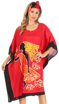 Sakkas Trina Women's Casual Loose Beach Poncho Caftan Dress Cover-up Many Print#color_1006-Red