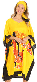Sakkas Trina Women's Casual Loose Beach Poncho Caftan Dress Cover-up Many Print#color_1006-Yellow