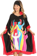 Sakkas Trina Women's Casual Loose Beach Poncho Caftan Dress Cover-up Many Print#color_Black