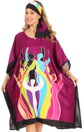 Sakkas Trina Women's Casual Loose Beach Poncho Caftan Dress Cover-up Many Print#color_Purple