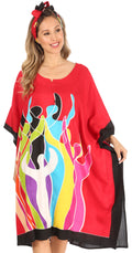 Sakkas Trina Women's Casual Loose Beach Poncho Caftan Dress Cover-up Many Print#color_Red