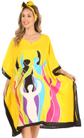 Sakkas Trina Women's Casual Loose Beach Poncho Caftan Dress Cover-up Many Print#color_Yellow
