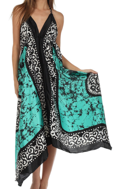 Sakkas Silky V-Neck Halter Handkerchief Hem Maxi Dress