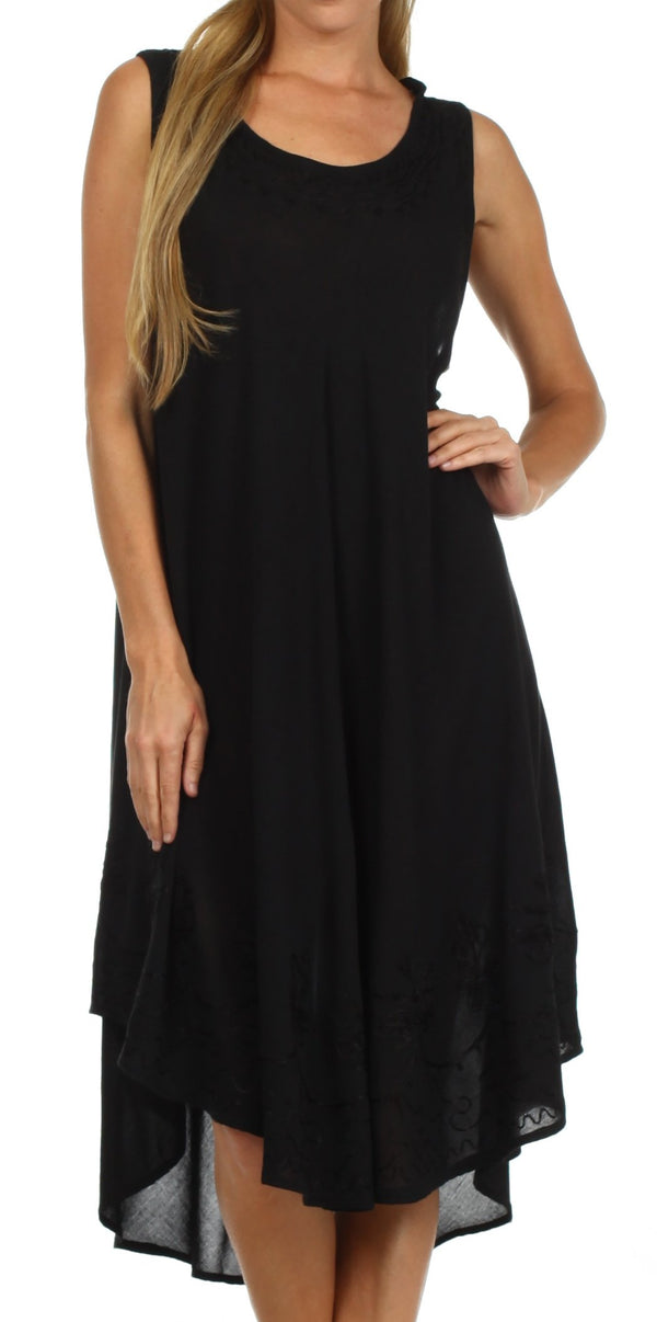 Sakkas Everyday Essentials Caftan Tank Dress / Cover Up#color_Black