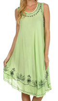 Sakkas Everyday Essentials Caftan Tank Dress / Cover Up#color_Light Green / Black