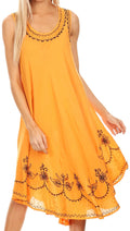 Sakkas Everyday Essentials Caftan Tank Dress / Cover Up#color_Tangerine / Black