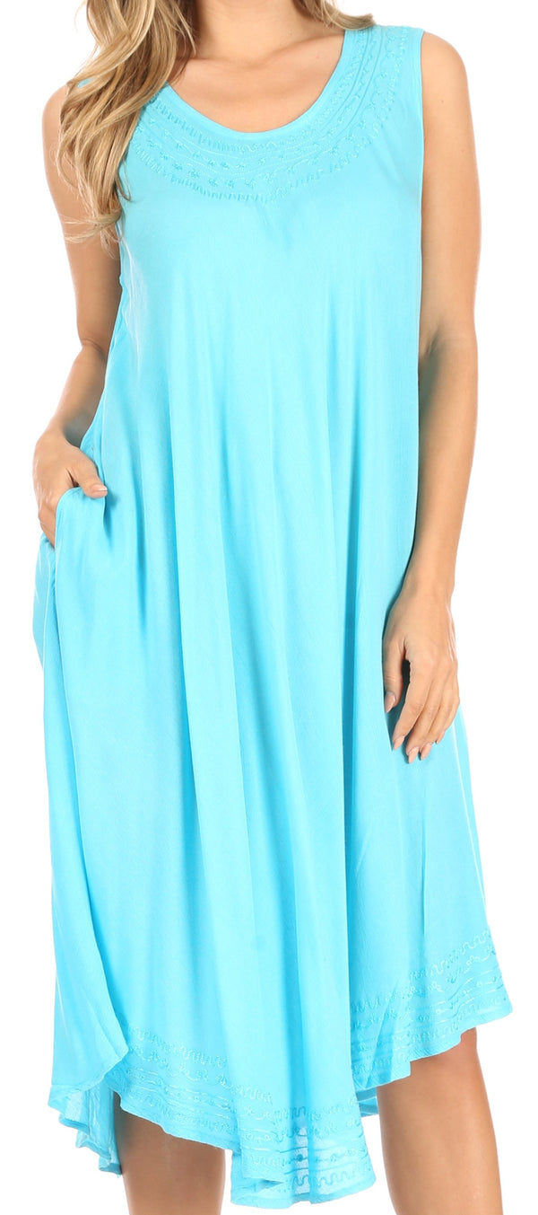 Sakkas Everyday Essentials Caftan Tank Dress / Cover Up#color_Turquoise