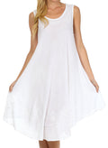 Sakkas Everyday Essentials Caftan Tank Dress / Cover Up#color_White