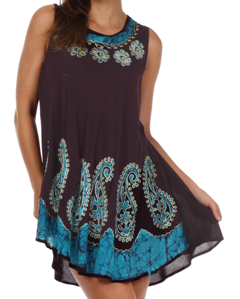Sakkas Batik Paisley Caftan Tank Dress / Cover Up