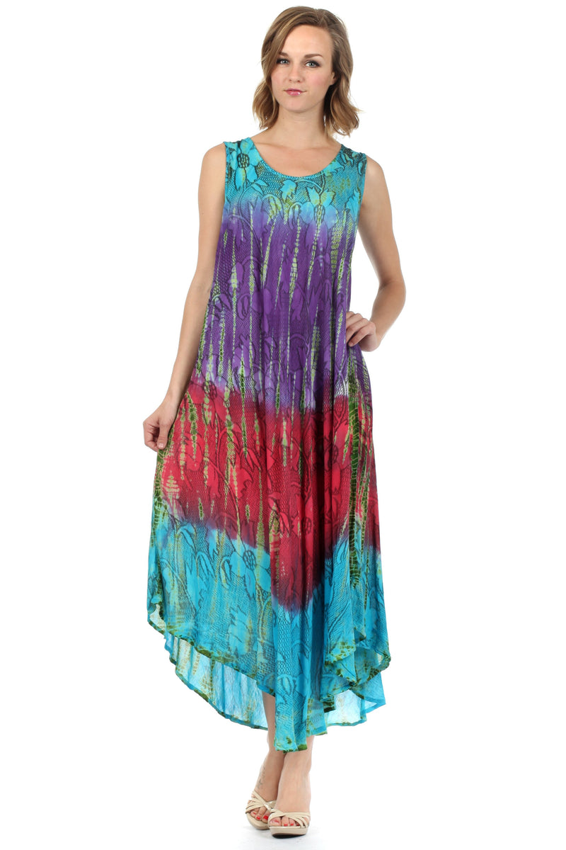 Sakkas Ombre Floral Tie Dye Tank Sheath Caftan Cotton Dress