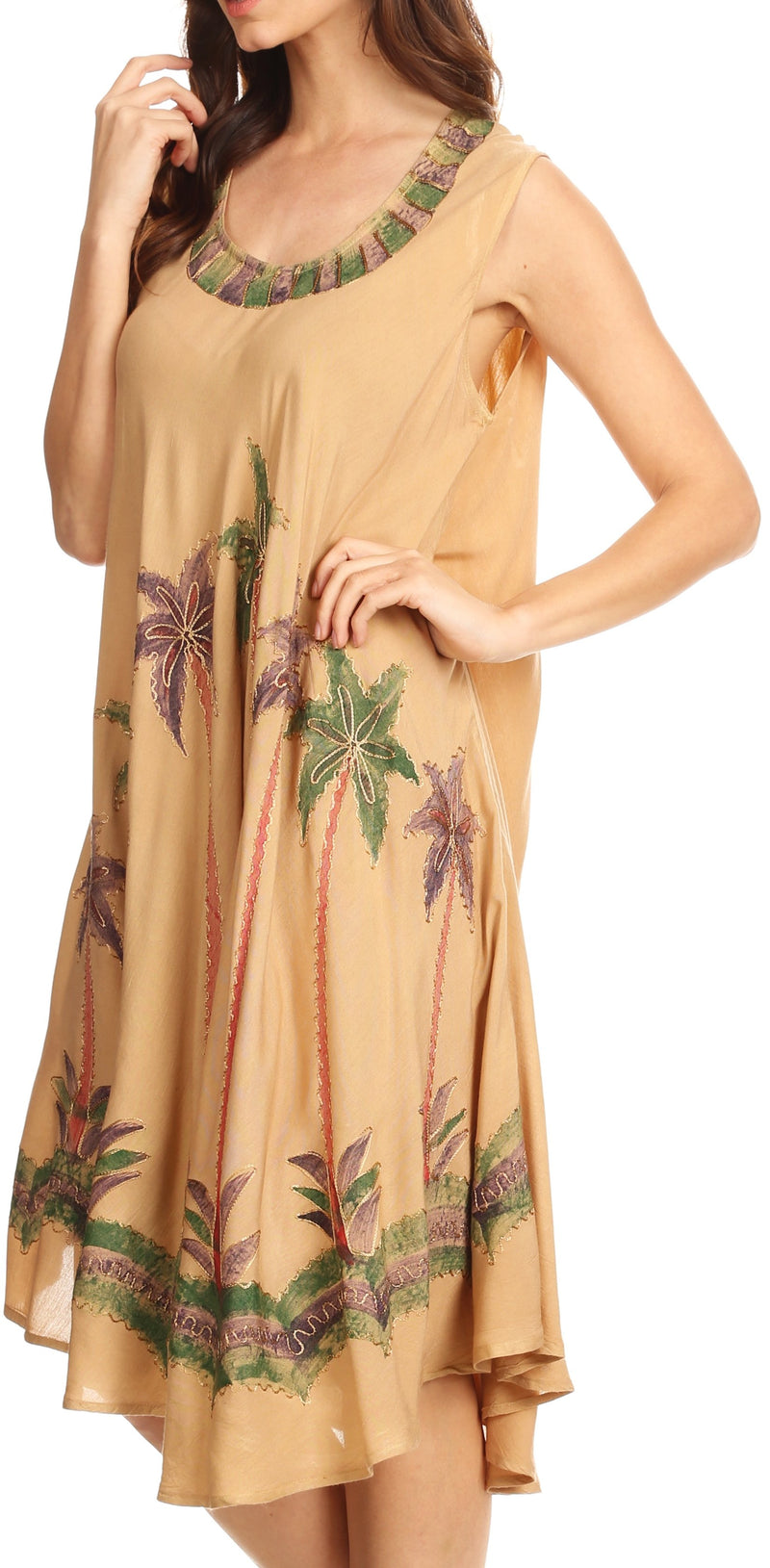 Sakkas Watercolor Palm Tree Tank Caftan Short Dress