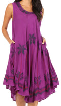 Sakkas Watercolor Palm Tree Tank Caftan Short Dress#color_Purple