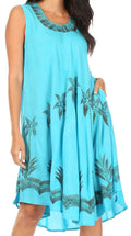 Sakkas Watercolor Palm Tree Tank Caftan Short Dress#color_Turquoise