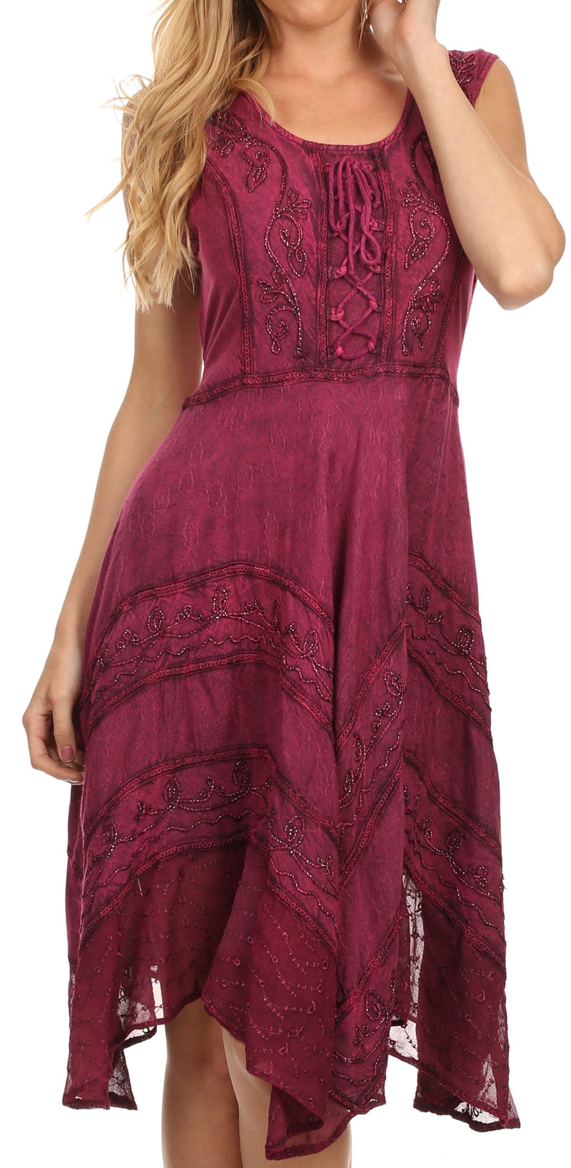 Sakkas Sundara Stonewashed Rayon Embroidered Mid Length Dress