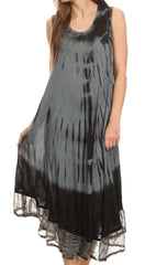 Sakkas Macey Embroidered Tie Dye Sleeveless Zebra Print Dress / Cover Up