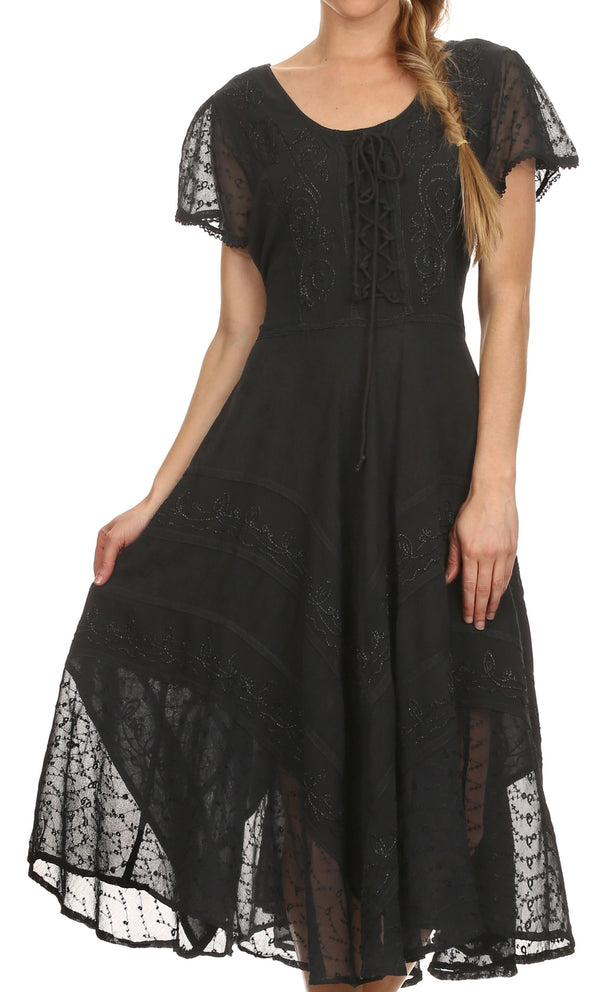 Sakkas Marigold Embroidered Fairy Dress#color_black