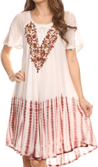 Sakkas Francea Mid Length Caftan Embroidered Cap Sleeves Dress / Cover Up