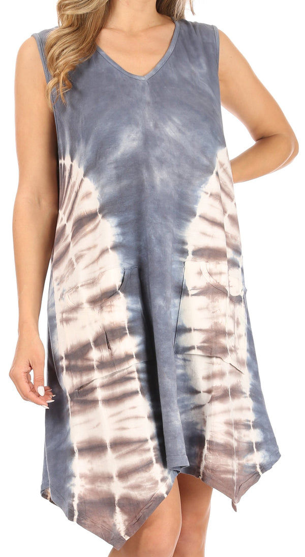 Sakkas Lunna Women's Casual Sleeveless Hi-low V-neck Knit Tie-dye Dress Cover-up#color_GreyBrown