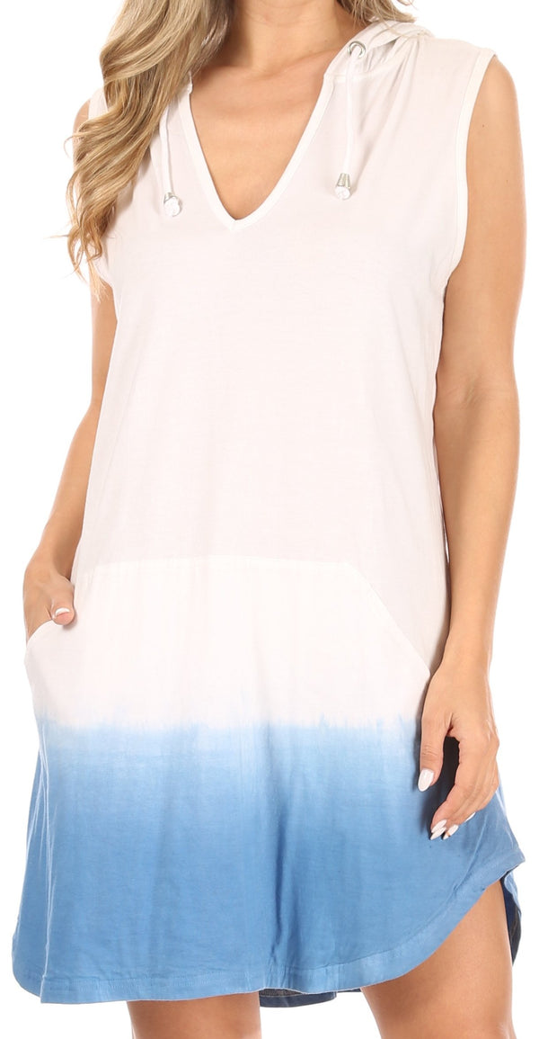 Sakkas Andrea Women's Casual Summer Cover-up Sleeveless Hoodie Dress Knit Tie-dye#color_WhiteBlue