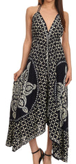 Sakkas Shana Batik Embroidered Handkerchief Hem Adjustable Halter Dress