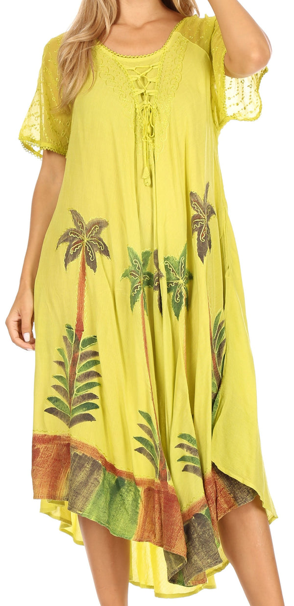 Sakkas Kai Palm Tree Caftan Tank Dress / Cover Up#color_Avocado