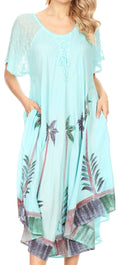 Sakkas Kai Palm Tree Caftan Tank Dress / Cover Up#color_Baby Blue