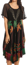Sakkas Kai Palm Tree Caftan Tank Dress / Cover Up#color_Black