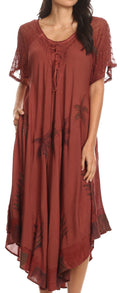 Sakkas Kai Palm Tree Caftan Tank Dress / Cover Up#color_Brown