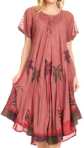 Sakkas Kai Palm Tree Caftan Tank Dress / Cover Up#color_Burgandy