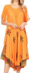 Sakkas Kai Palm Tree Caftan Tank Dress / Cover Up#color_Copper