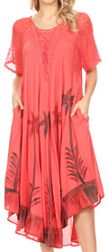 Sakkas Kai Palm Tree Caftan Tank Dress / Cover Up#color_Coral