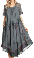 Sakkas Kai Palm Tree Caftan Tank Dress / Cover Up#color_Dark Grey