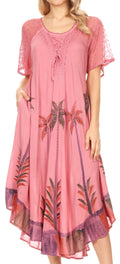 Sakkas Kai Palm Tree Caftan Tank Dress / Cover Up#color_Dusty Rose