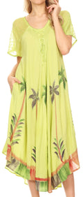 Sakkas Kai Palm Tree Caftan Tank Dress / Cover Up#color_Green