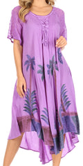 Sakkas Kai Palm Tree Caftan Tank Dress / Cover Up#color_Lavender
