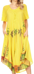Sakkas Kai Palm Tree Caftan Tank Dress / Cover Up#color_Lemon