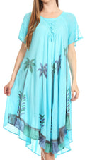 Sakkas Kai Palm Tree Caftan Tank Dress / Cover Up#color_Light Blue