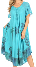 Sakkas Kai Palm Tree Caftan Tank Dress / Cover Up#color_Mint