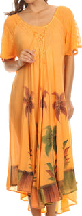 Sakkas Kai Palm Tree Caftan Tank Dress / Cover Up#color_Orange
