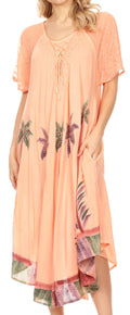 Sakkas Kai Palm Tree Caftan Tank Dress / Cover Up#color_Peach