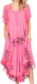 Sakkas Kai Palm Tree Caftan Tank Dress / Cover Up#color_Pink