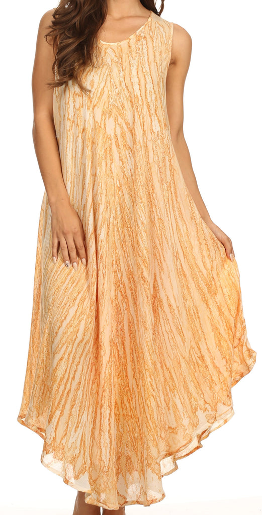 Sakkas Kara Long Draped Sleeveless Marbled Caftan Dress / Cover Up