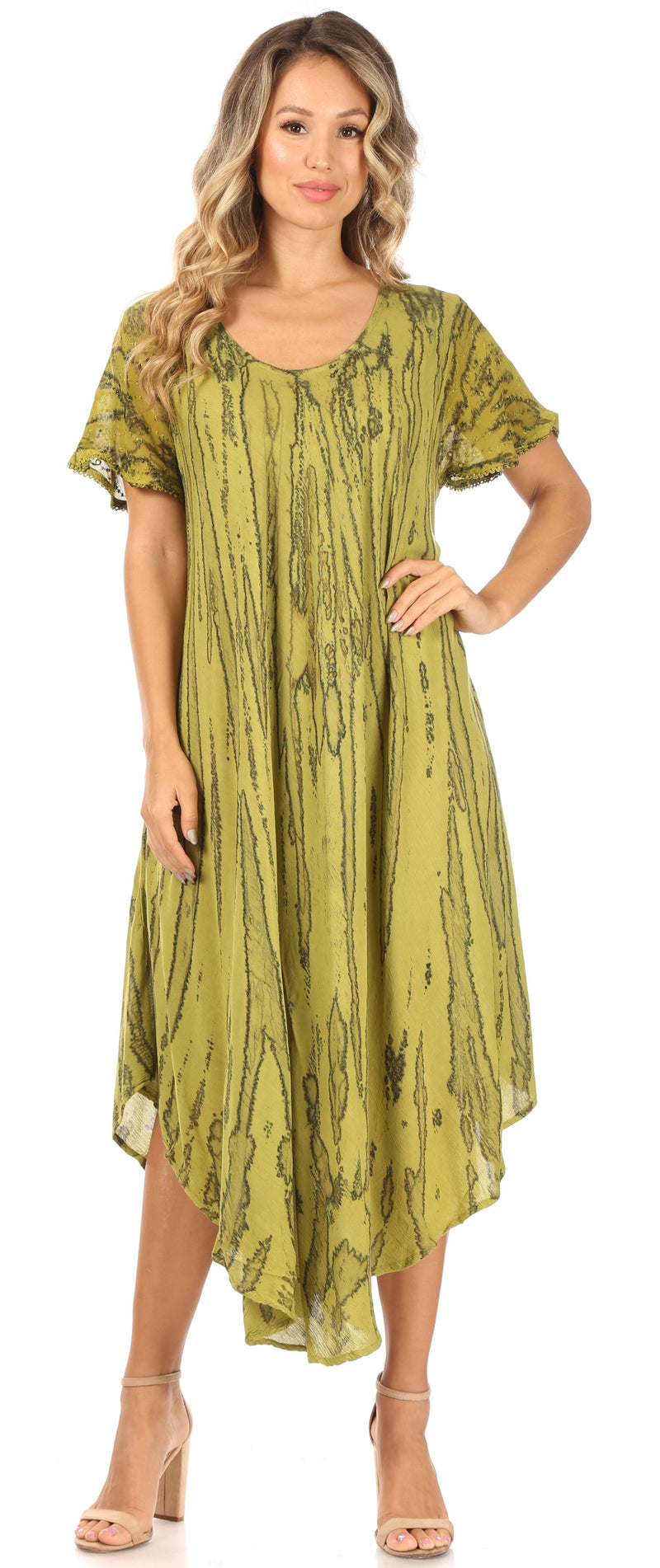 Sakkas Faye Cap Sleeved Cotton Caftan Cover Up Dress