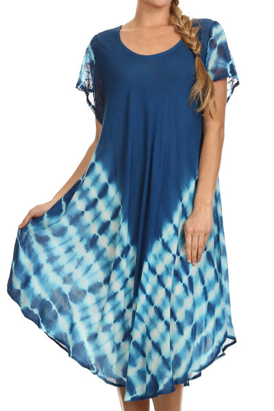 Sakkas Lively Tie Dye Cap Sleeve Caftan Dress / Cover Up