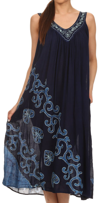 Sakkas Addilyn Embroidered Tank Top Split Neck Dress / Cover Up