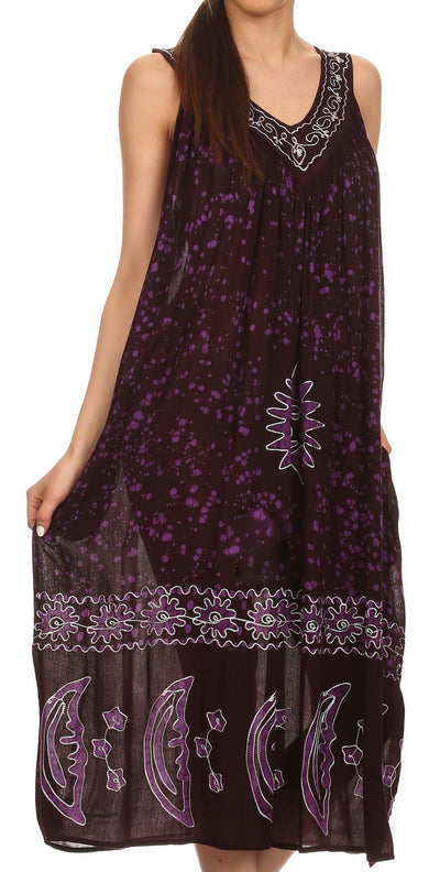 Sakkas Jaelyn Embroidered Tank Top Split Neck Broomstick Dress / Cover Up