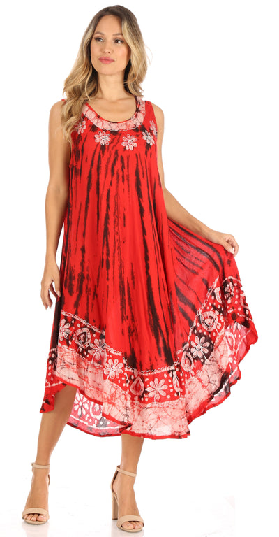 group-Burnt Orange (Sakkas Alexis Embroidered Long Sleeveless Floral Caftan Dress / Cover Up)