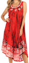 Sakkas Alexis Embroidered Long Sleeveless Floral Caftan Dress / Cover Up#color_Burnt Orange
