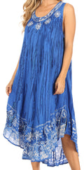 Sakkas Alexis Embroidered Long Sleeveless Floral Caftan Dress / Cover Up#color_Denim Blue